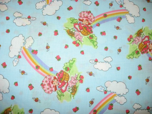 Image 0 of Strawberry Shortcake Rainbows Berries clouds blue cotton Fabric rare