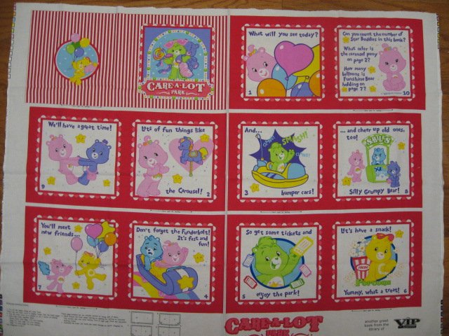 Care Bears Care alot Fabric baby soft book panel or Quilt to sew /