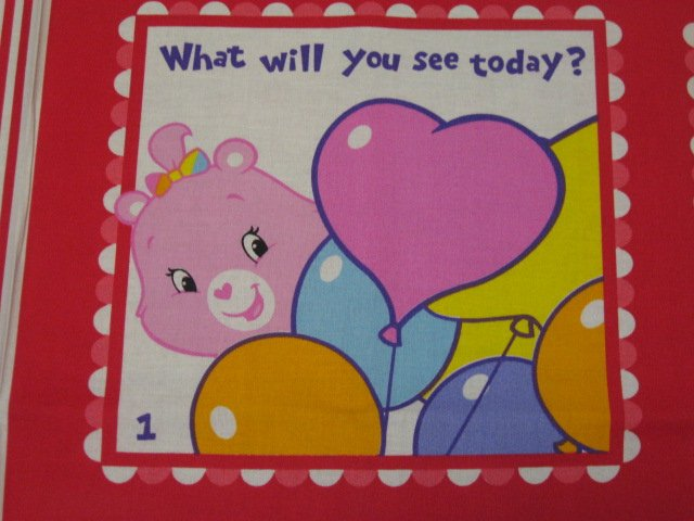 Image 1 of Care Bears Care alot Fabric baby soft book panel or Quilt to sew /