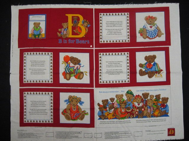 B is for Bears Balloons Personality Fabric baby soft book new to sew /