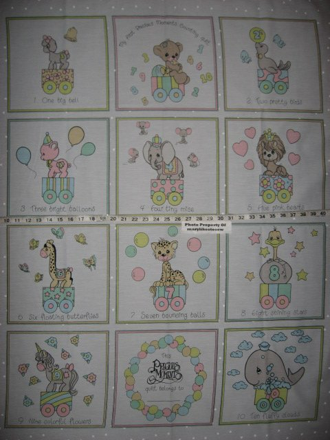 Precious Moments Fabric Counting animals vintage quilt panel to sew/