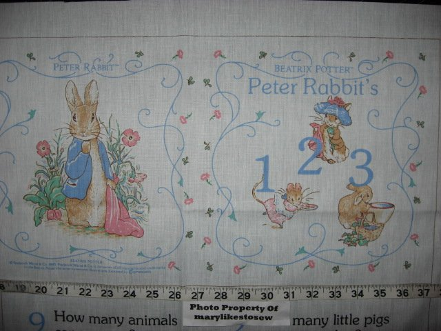 Peter Rabbit Beatrix Potter Counting Fabric baby soft book to sew