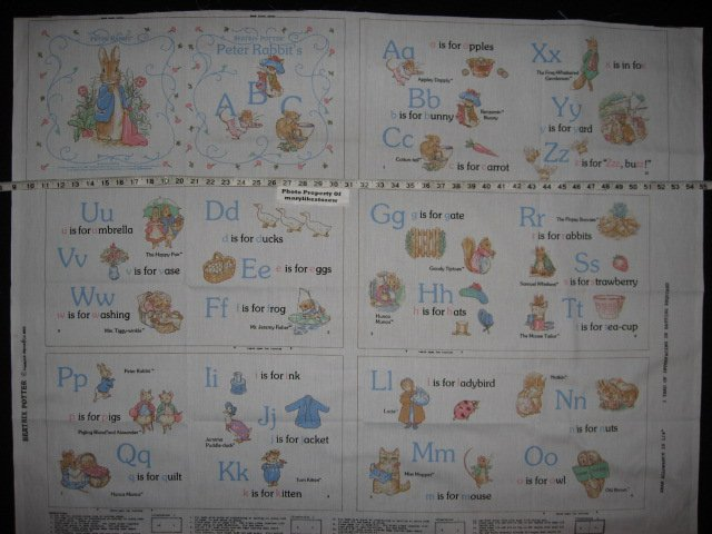 Peter Rabbit Beatrix Potter Alphabet Fabric baby soft book to sew