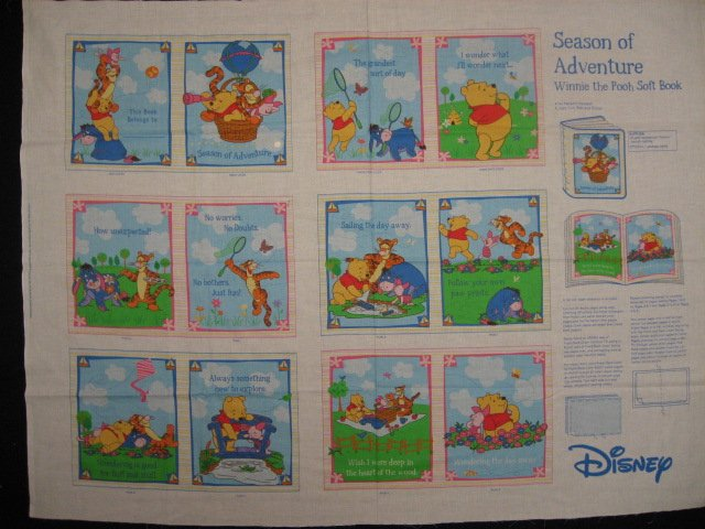 Winnie the Pooh Tigger Piglet Season of Adventure baby Soft book Panel to sew /