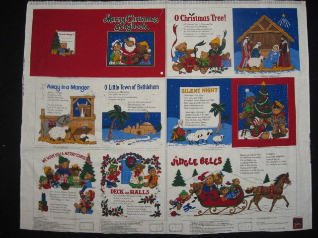 Merry Christmas Song book Teddy Bears Fabric baby soft book new to sew /