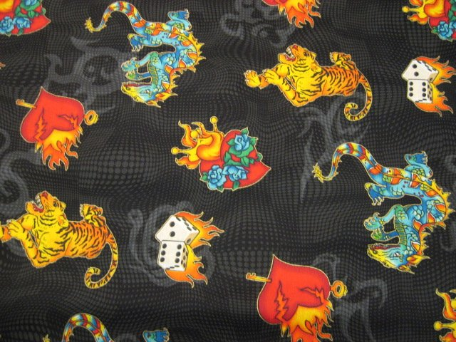 Dragon tiger dice heart born to be wild tatoo cotton for Solar system fleece fabric