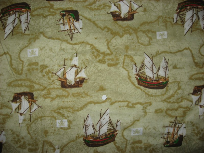 Image 0 of Sailing Ships Ocean Maps Toddler daycare Flannel Baby Blanket