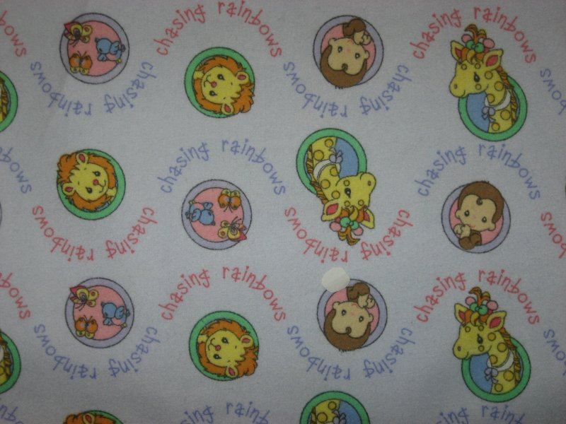 Precious Moments Flannel Baby Blanket Animals  in circles Handmade