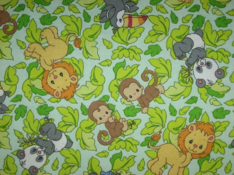 Precious Moments  Flannel Jungle Animal Monkey Toucan Lion Panda
