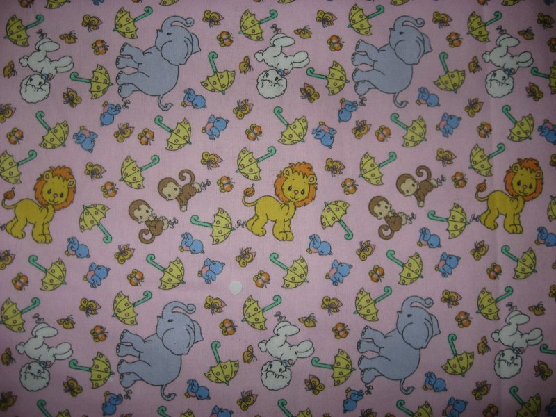Image 0 of Noah's Precious Moments Animal Monkey Umbrellas pinkFlannel Fabric  By the yard