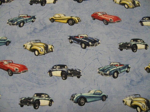 Image 1 of Vintage Cars Jaguar Timeless Treasures Cotton Quilt Sewing fabric by the yard