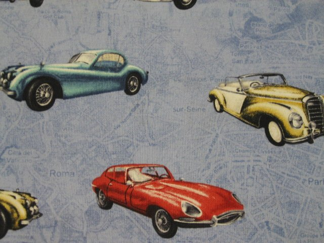Vintage Cars Jaguar Timeless Treasures Cotton Quilt Sewing fabric by the yard