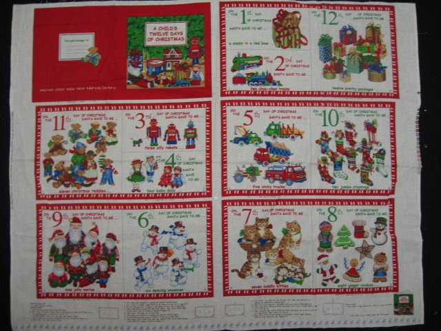 Child's Twelve days of Christmas baby Soft book fabric Panel to Sew /