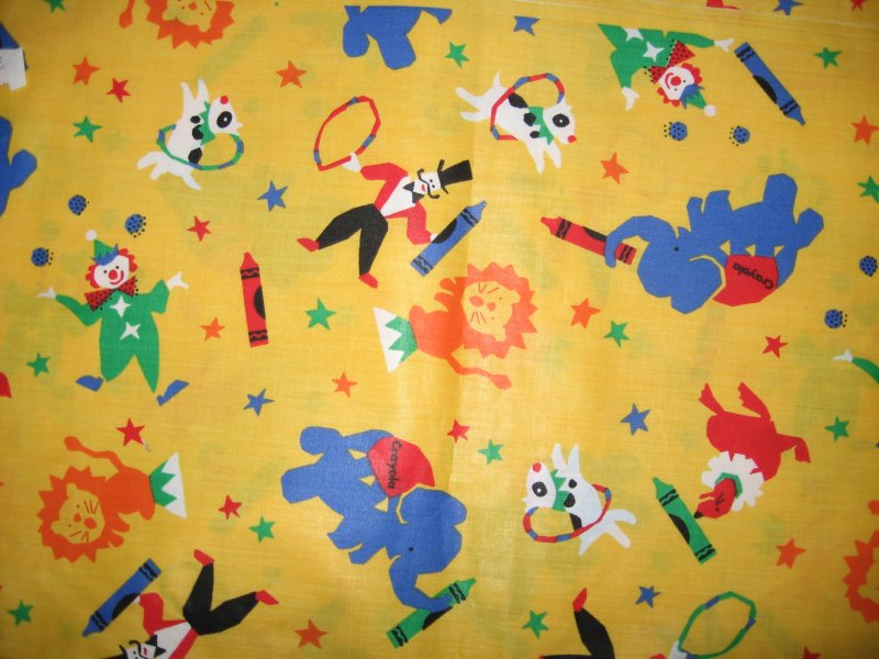 Circus Acts Big top Whimsical Animals Clowns yellow Fabric Last 45X46 piece