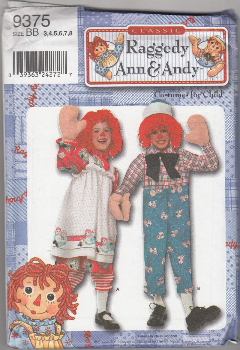 Image 0 of Simplicity Pattern Costume Raggedy Ann and Andy S 9375 Child sz 3 to 8 RARE