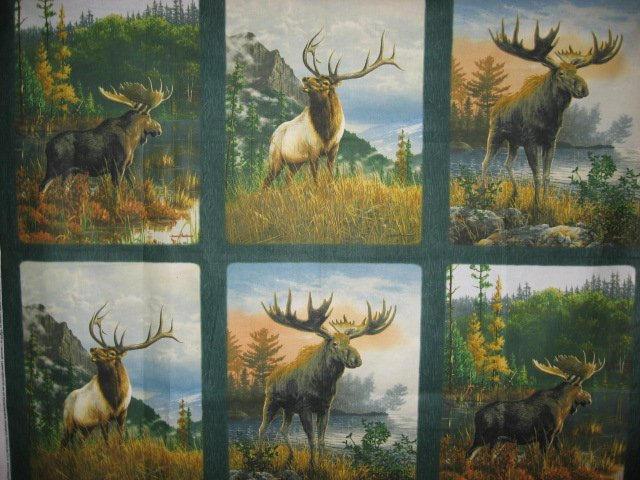 Image 0 of Moose Elk wild animal Cotton Quilt Wall Panel sew set of 6 squares //