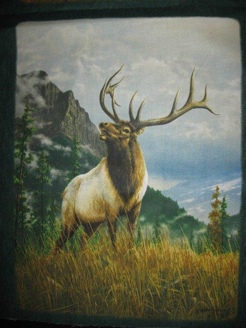 Image 1 of Moose Elk wild animal Cotton Quilt Wall Panel sew set of 6 squares //