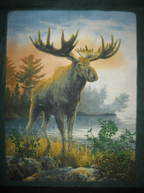 Image 2 of Moose Elk wild animal Cotton Quilt Wall Panel sew set of 6 squares //