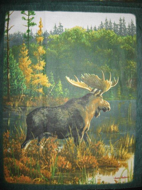 Image 3 of Moose Elk wild animal Cotton Quilt Wall Panel sew set of 6 squares //