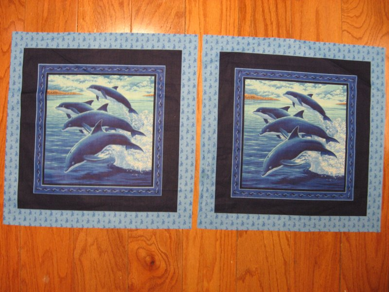 Dolphins fish in the sea ocean waves fabric pillow panels set of two pictures
