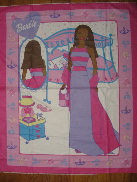 Afro American Barbie Cotton Fabric Panel to sew /