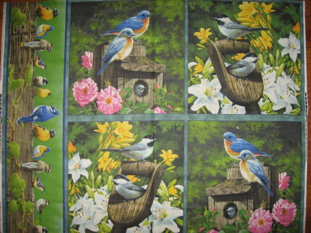 Hautman Blue birds Jay Finches Fabric pillow panels or Wall quilt to sew