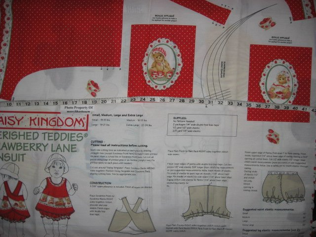 Image 2 of Daisy Kingdom Cherished Teddies Strawberry Lane Sunsuit Fabric Panel sew 1999