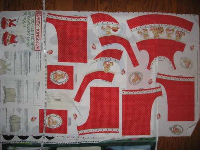 Image 3 of Daisy Kingdom Cherished Teddies Strawberry Lane Sunsuit Fabric Panel sew 1999