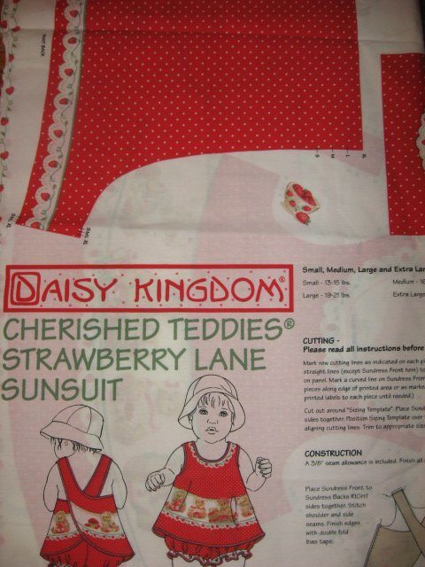 Image 0 of Daisy Kingdom Cherished Teddies Strawberry Lane Sunsuit Fabric Panel sew 1999