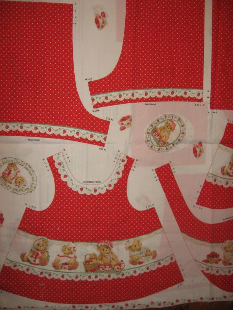 Image 1 of Daisy Kingdom Cherished Teddies Strawberry Lane Sunsuit Fabric Panel sew 1999