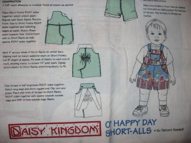 Daisy Kingdom Boy Toddler Short-Alls Fabric Panel to sew