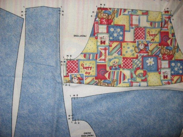 Image 1 of Daisy Kingdom Boy Toddler Short-Alls Fabric Panel to sew