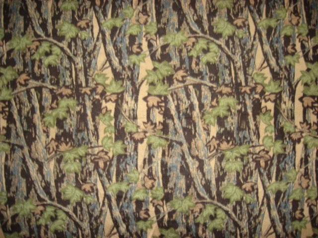 Camo Camouflage woods and trees on an Anti pill Fleece blanket throw