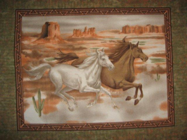 Horses running Southwest Desert Fleece blanket Panel