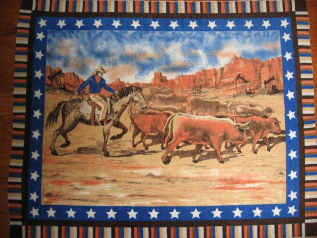 Cowboy with Horse and Cattle Stars border Child bed size Fleece blanket throw