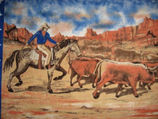 Image 1 of Cowboy with Horse and Cattle Stars border Child bed size Fleece blanket throw