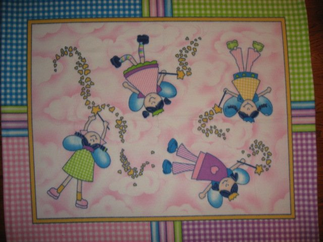 Fairy Princess Wand Hearts Pastel Child bed size fleece blanket 48X59 wide