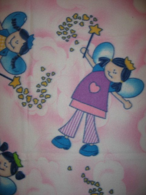 Image 1 of Fairy Princess Wand Hearts Pastel Child bed size fleece blanket 48