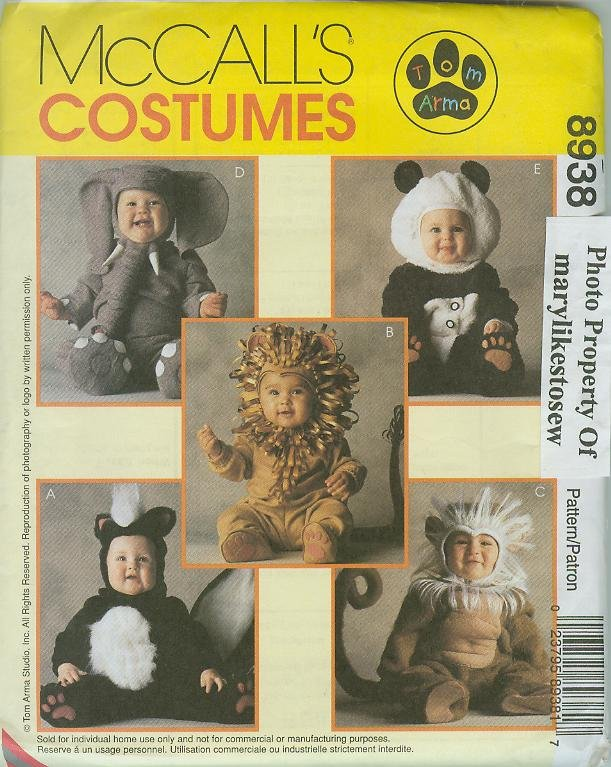 McCall's 8938 Pattern Uncut Costume Animals Monkey Lion Panda Toddler sz 4