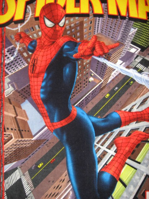Image 1 of Spiderman comic book hero web city Fleece blanket