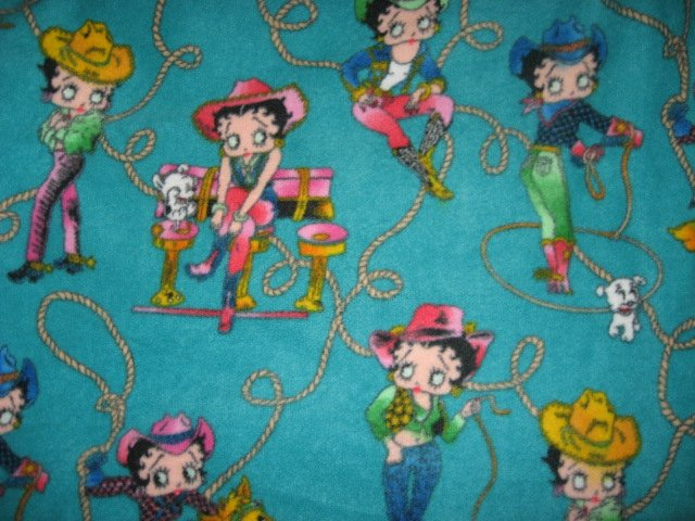 Image 0 of Betty Boop cowgirl fleece blanket handmade with licensed fleece