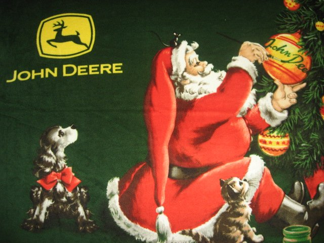 John Deere Christmas Santa dog cat ornaments Licensed Fleece blanket