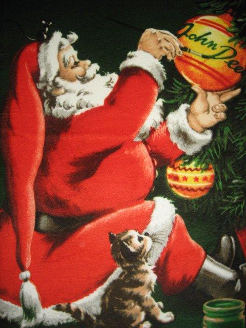 Image 1 of John Deere Christmas Santa dog cat ornaments Licensed Fleece blanket