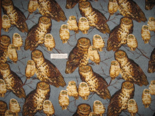 Image 2 of Owls on rare gray Fleece Blanket 45