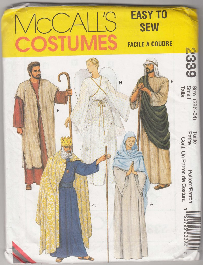 McCall's 2339 Small Adult Pattern Costume Jesus Mary Joseph King for school play