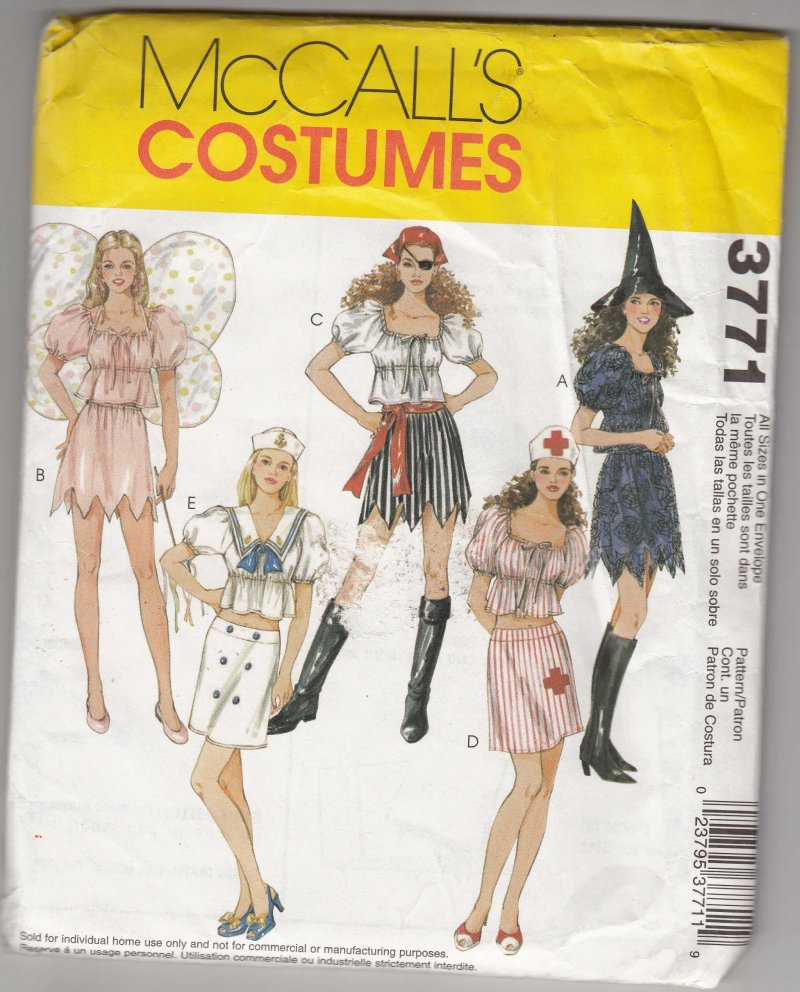 McCall's All Sizes Misses sewing Pattern Costume Sexy Pirate Witch Nurse Fairy