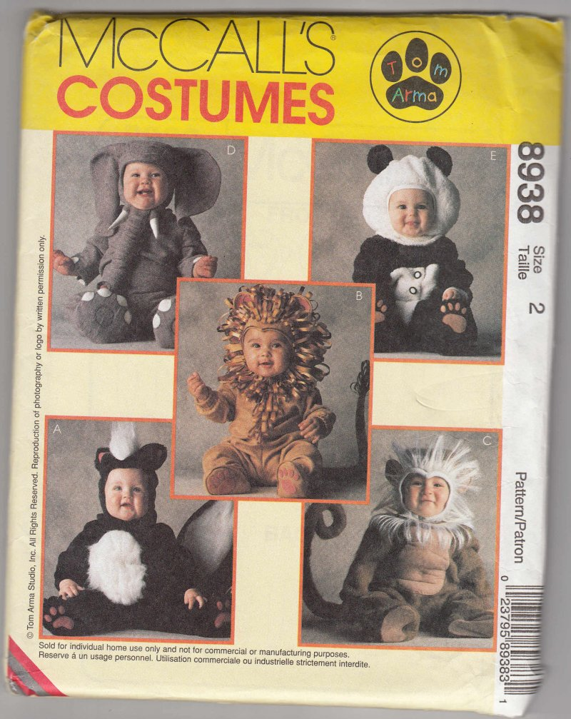 McCall's 8938 Pattern Uncut Costume Animals Monkey Lion Panda Toddler sz 1