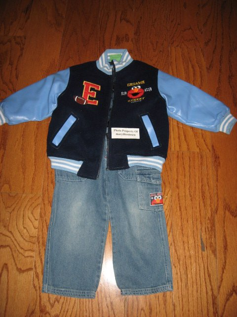 Image 0 of Licensed Sesame Street Elmo Fall Winter jacket top jeans Excellent condition 3T