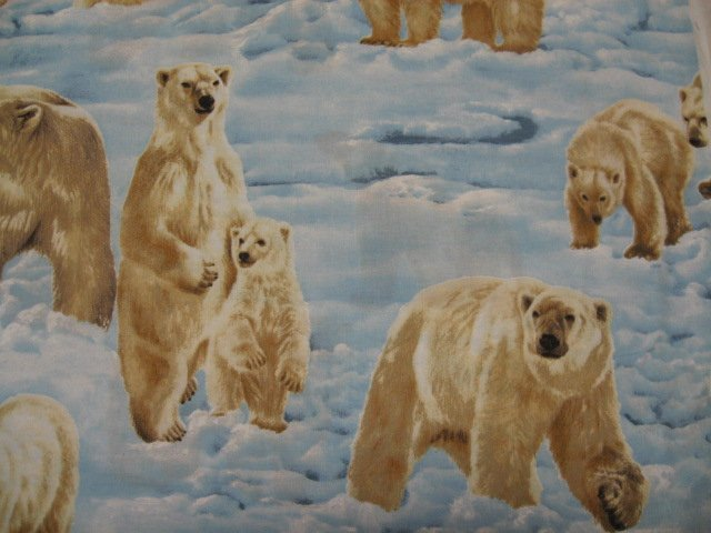 Polar bears Arctic snow ice quality quilt cotton sewing Fabric by the yard rare