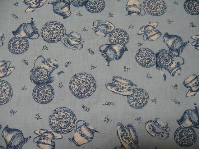 Image 0 of Dishes cups teapot creamers Blue toile quilt cotton 58